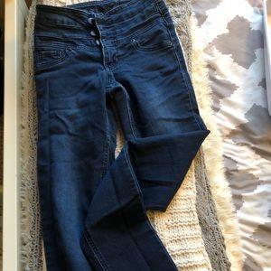 dark wash blue high waisted skinny jeans